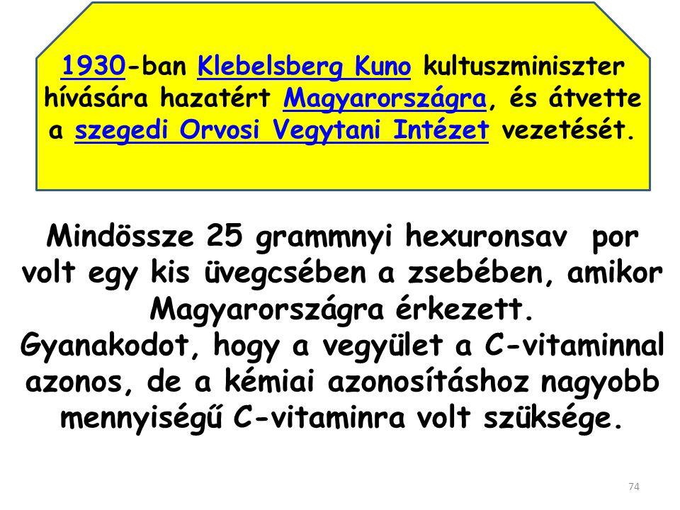 1930-ban Klebelsberg Kuno kultuszminiszter hívására hazatért Magyarországra, és átvette a szegedi Orvosi Vegytani Intézet vezetését.