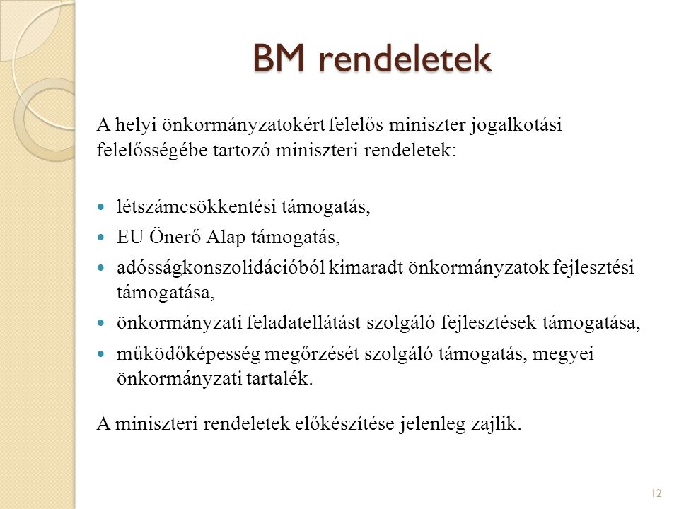 BM rendeletek A helyi önkormányzatokért felelős miniszter jogalkotási felelősségébe tartozó miniszteri rendeletek: