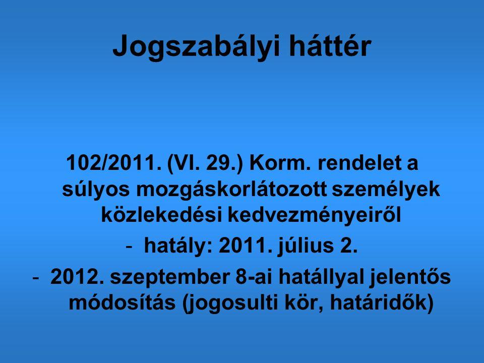 Jogszabályi háttér 102/2011. (VI. 29.) Korm. rendelet a súlyos mozgáskorlátozott személyek közlekedési kedvezményeiről.