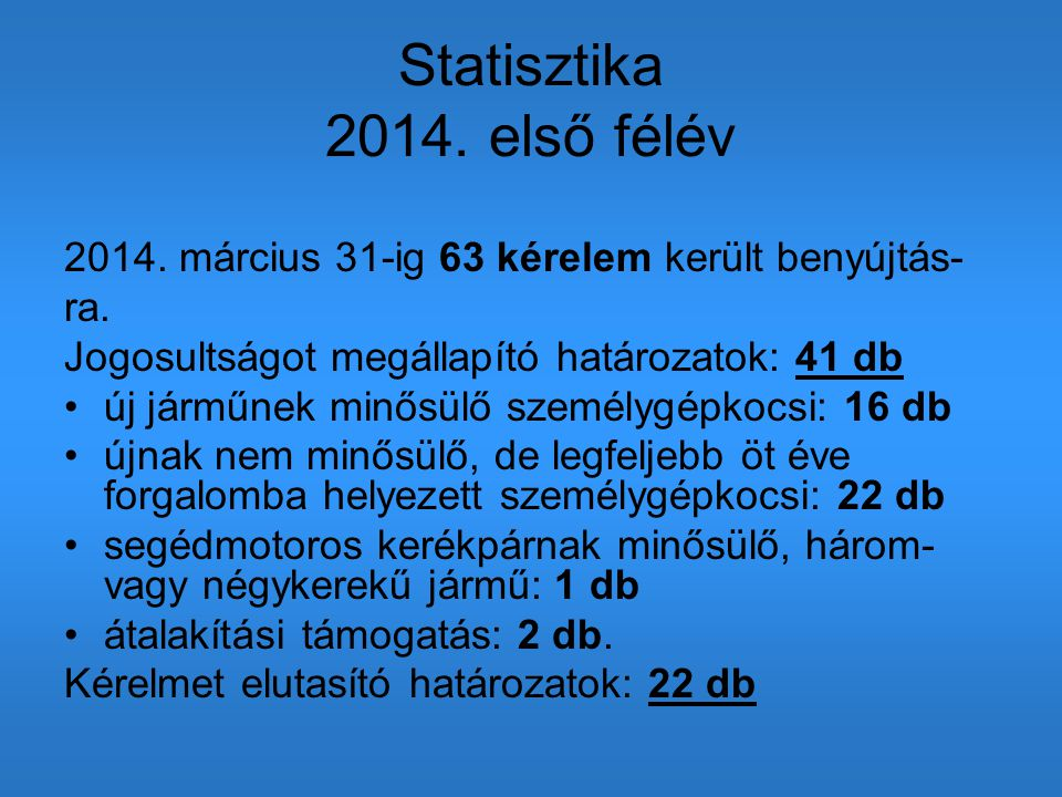 Statisztika 2014. első félév