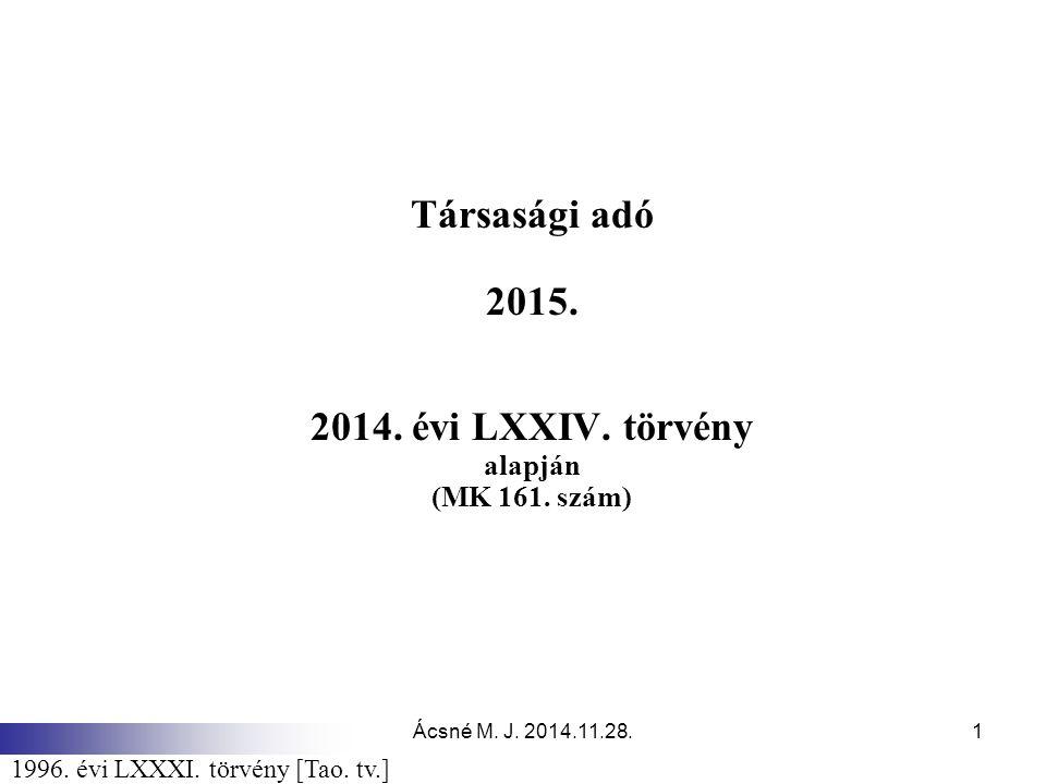 Társasági adó 2015. 2014. évi LXXIV. törvény alapján (MK 161. szám)
