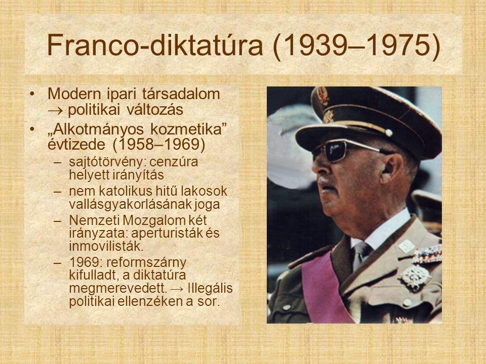 """Franco-diktatúra (1939–1975) Modern ipari társadalom  politikai változás. """"Alkotmányos kozmetika évtizede (1958–1969)"""