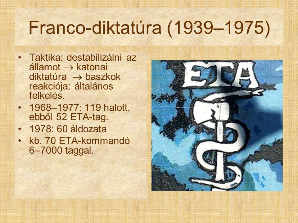 Franco-diktatúra (1939–1975) Taktika: destabilizálni az államot  katonai diktatúra  baszkok reakciója: általános felkelés.