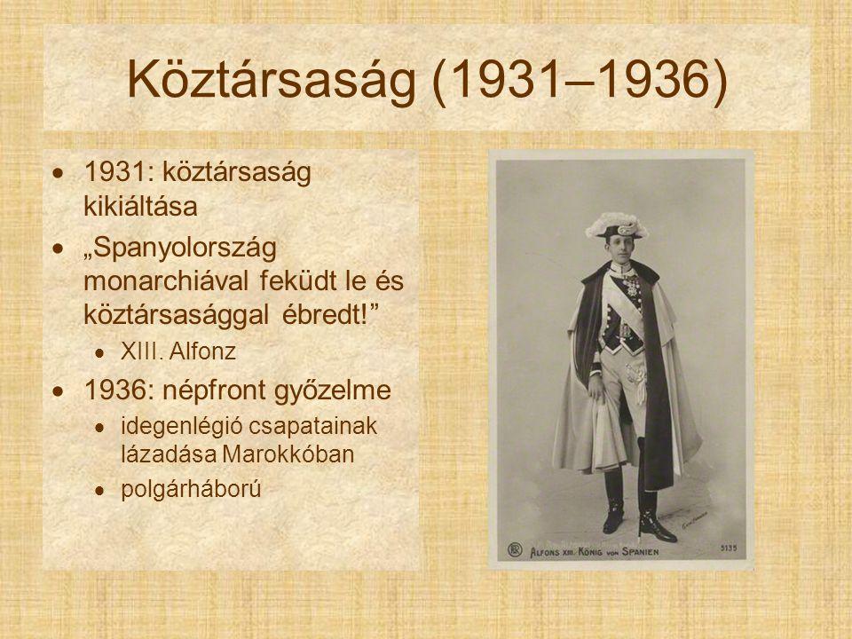 Köztársaság (1931–1936) 1931: köztársaság kikiáltása