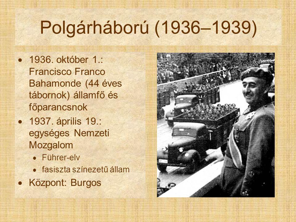 Polgárháború (1936–1939) 1936. október 1.: Francisco Franco Bahamonde (44 éves tábornok) államfő és főparancsnok.