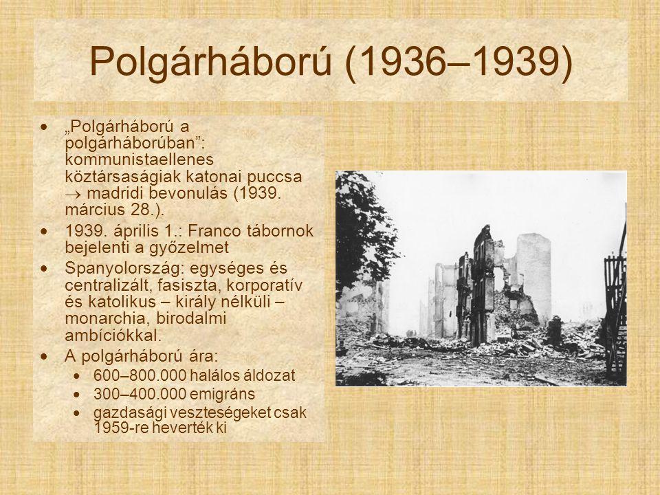 """Polgárháború (1936–1939) """"Polgárháború a polgárháborúban : kommunistaellenes köztársaságiak katonai puccsa  madridi bevonulás (1939. március 28.)."""