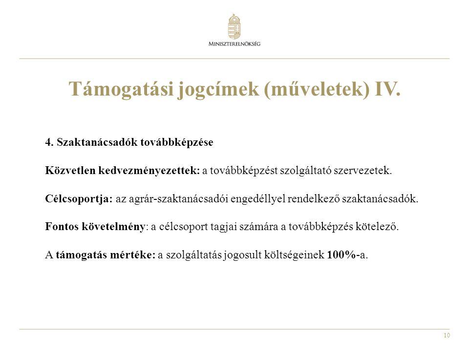 Támogatási jogcímek (műveletek) IV.