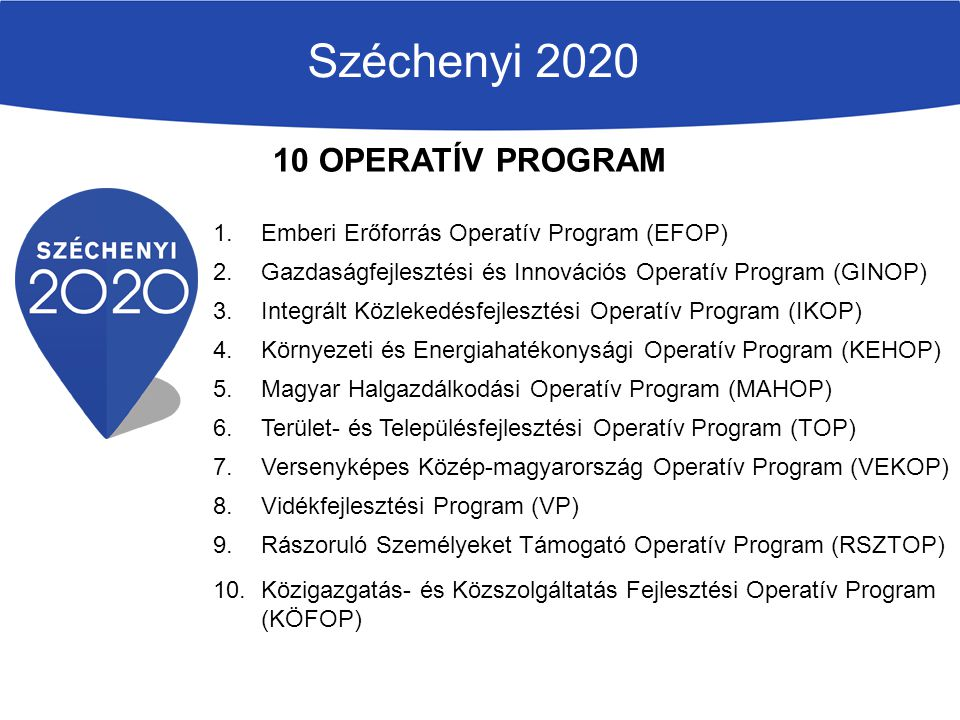 Széchenyi 2020 10 OPERATÍV PROGRAM
