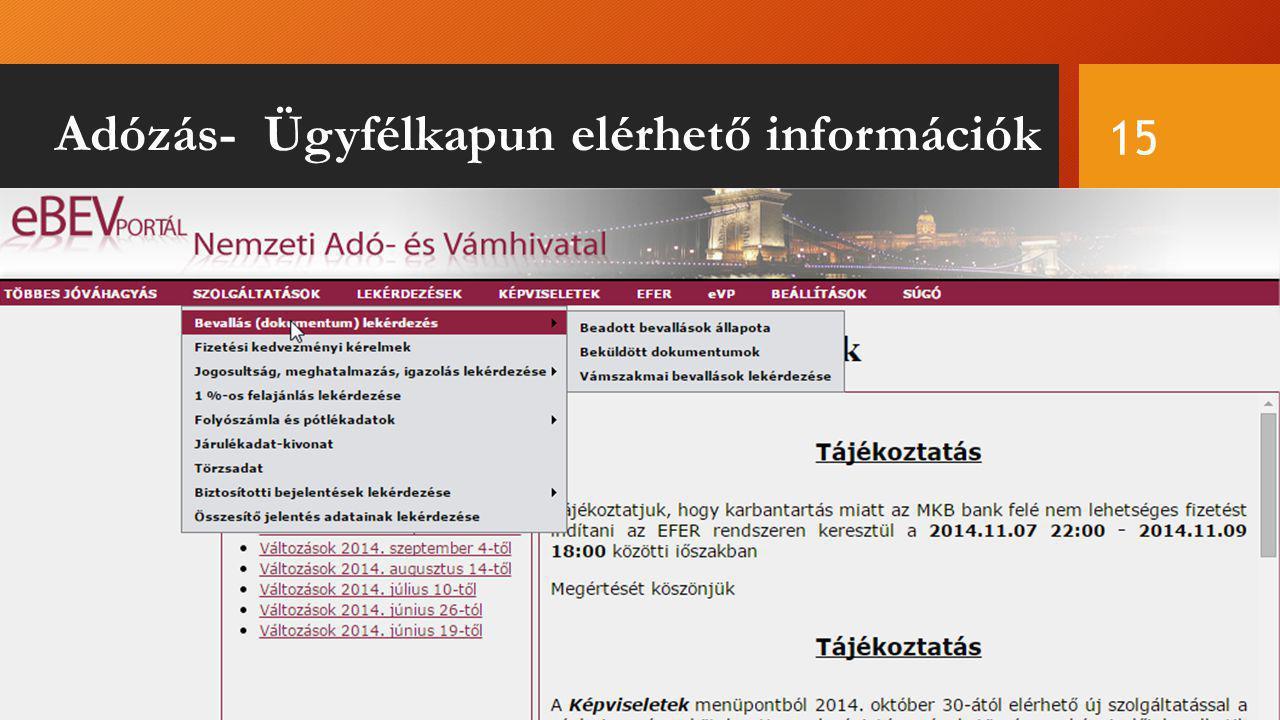 Adózás- Ügyfélkapun elérhető információk