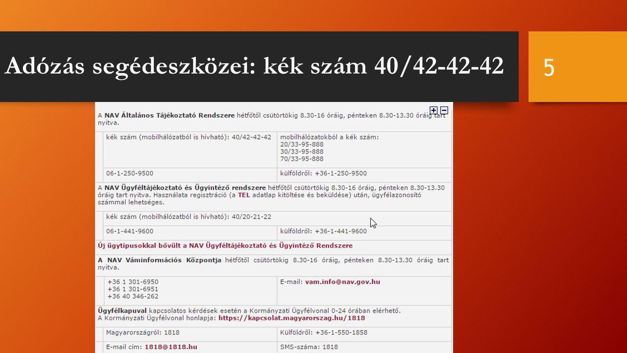 Adózás segédeszközei: kék szám 40/42-42-42