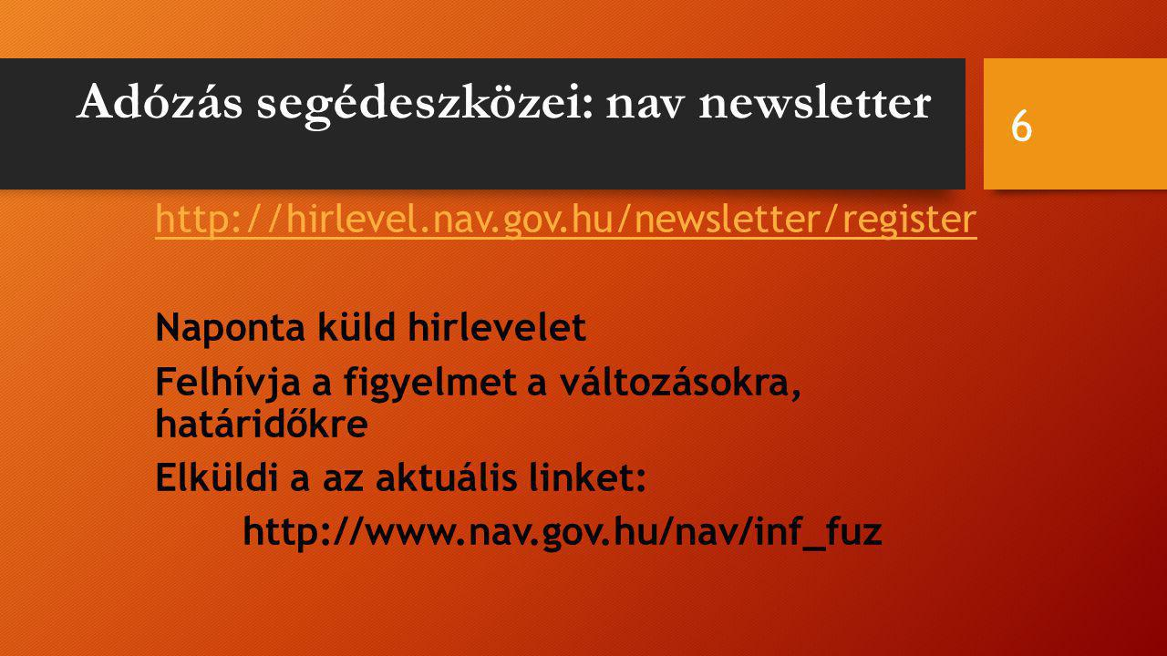 Adózás segédeszközei: nav newsletter