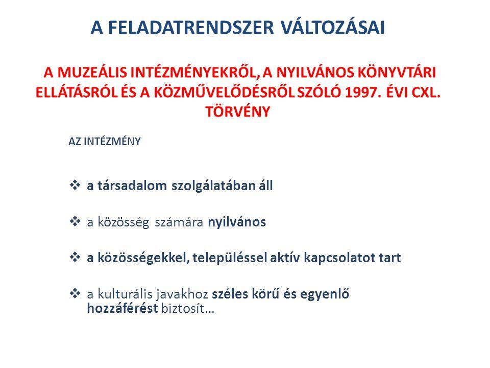 A FELADATRENDSZER VÁLTOZÁSAI A muzeális intézményekről, a nyilvános könyvtári ellátásról és a közművelődésről szóló 1997. évi CXL. törvény