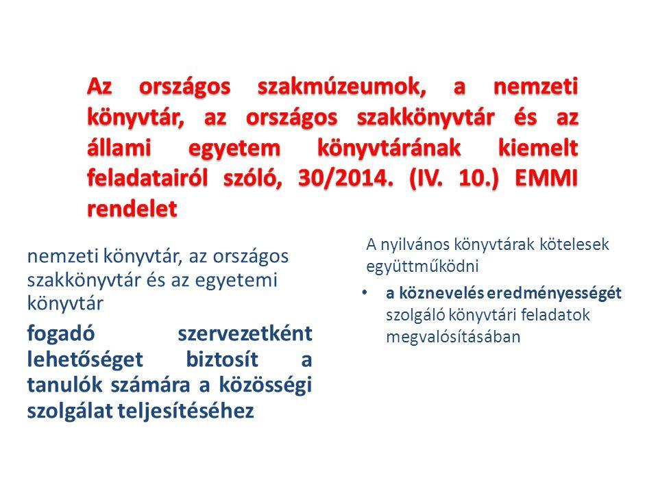 Az országos szakmúzeumok, a nemzeti könyvtár, az országos szakkönyvtár és az állami egyetem könyvtárának kiemelt feladatairól szóló, 30/2014. (IV. 10.) EMMI rendelet