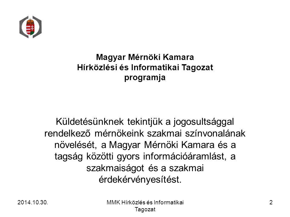 Magyar Mérnöki Kamara Hírközlési és Informatikai Tagozat programja