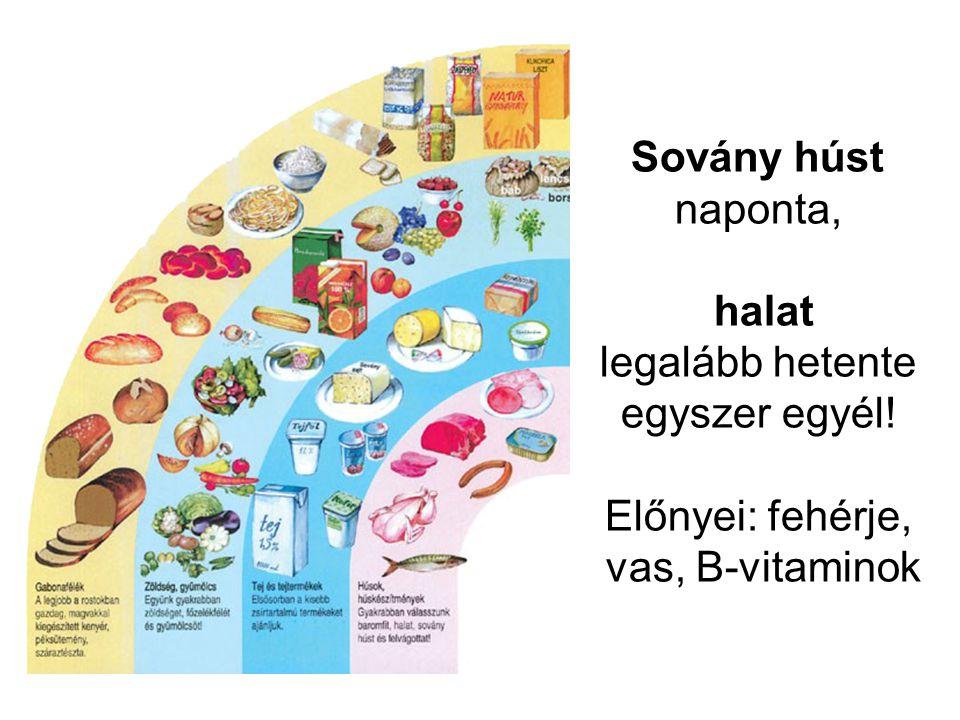 Sovány húst naponta, halat legalább hetente egyszer egyél! Előnyei: fehérje, vas, B-vitaminok