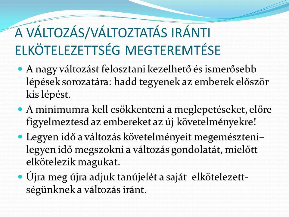 A VÁLTOZÁS/VÁLTOZTATÁS IRÁNTI ELKÖTELEZETTSÉG MEGTEREMTÉSE