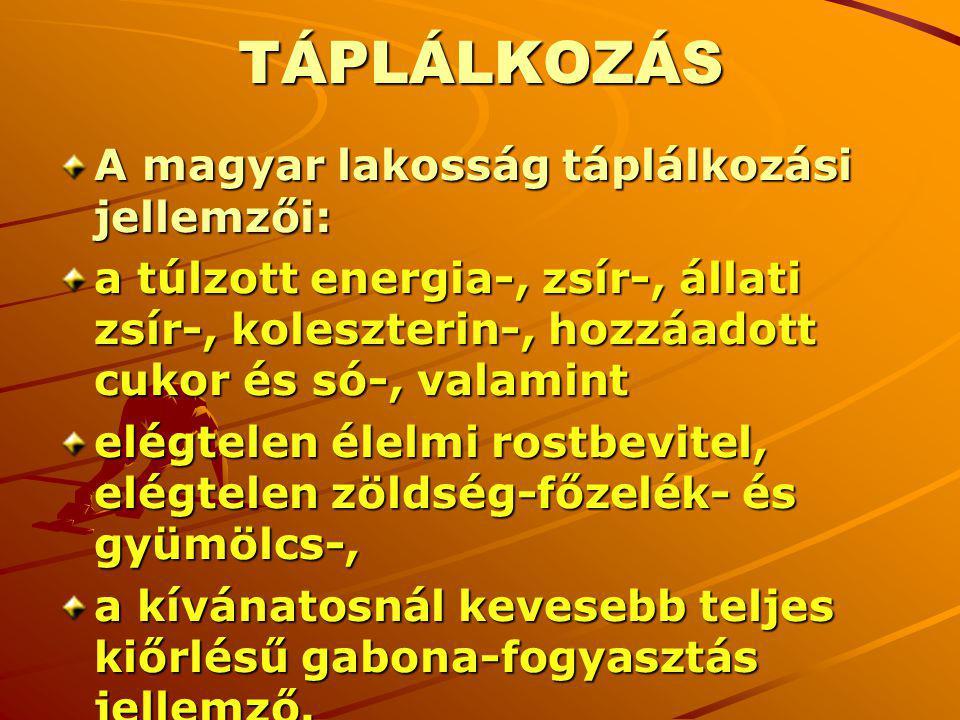 TÁPLÁLKOZÁS A magyar lakosság táplálkozási jellemzői: