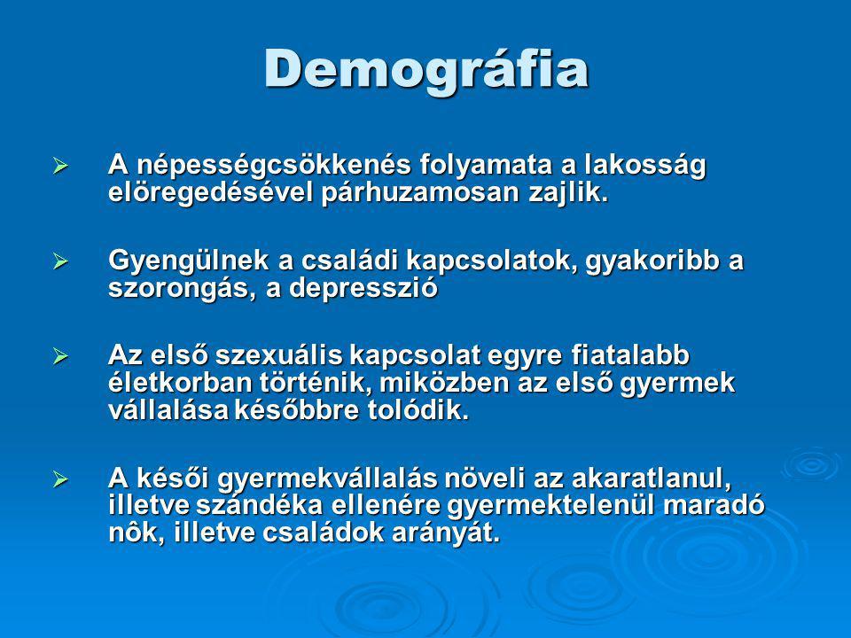 Demográfia A népességcsökkenés folyamata a lakosság elöregedésével párhuzamosan zajlik.