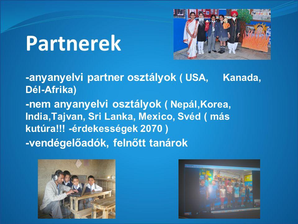 Partnerek -anyanyelvi partner osztályok ( USA, Kanada, Dél-Afrika)