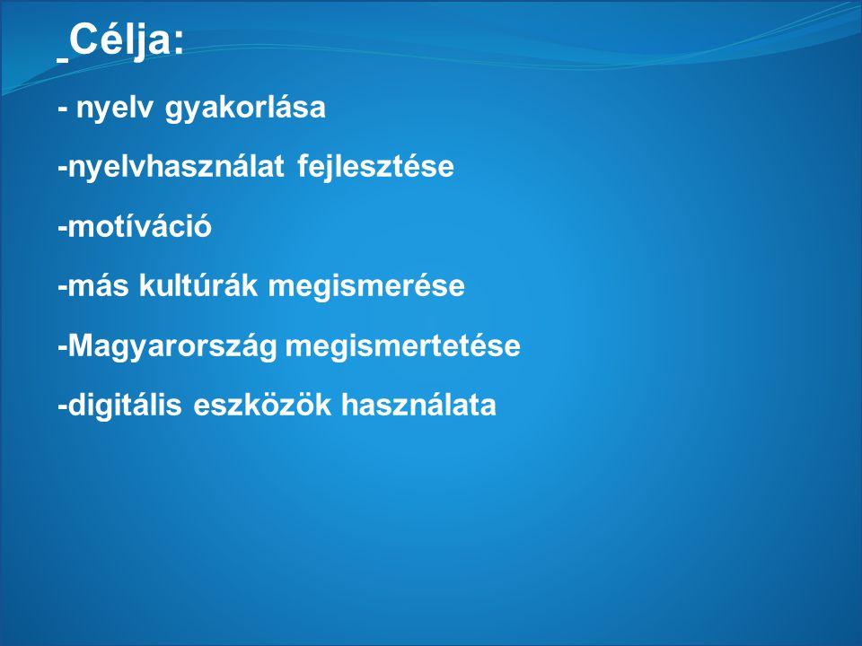 Célja: - nyelv gyakorlása -nyelvhasználat fejlesztése -motíváció
