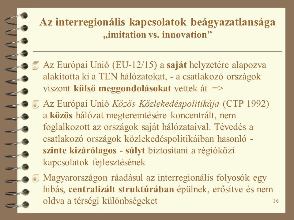 """Az interregionális kapcsolatok beágyazatlansága """"imitation vs"""