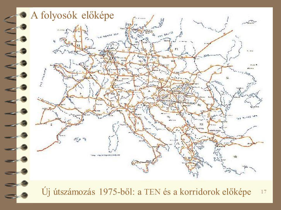A folyosók előképe Új útszámozás 1975-ből: a TEN és a korridorok előképe
