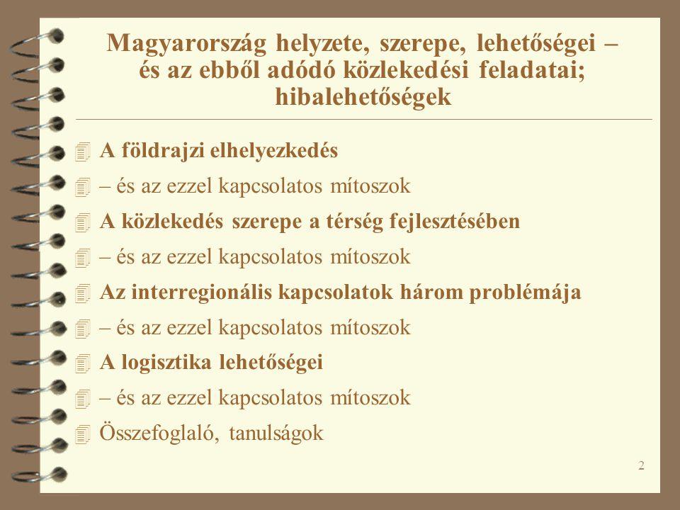 Magyarország helyzete, szerepe, lehetőségei – és az ebből adódó közlekedési feladatai; hibalehetőségek