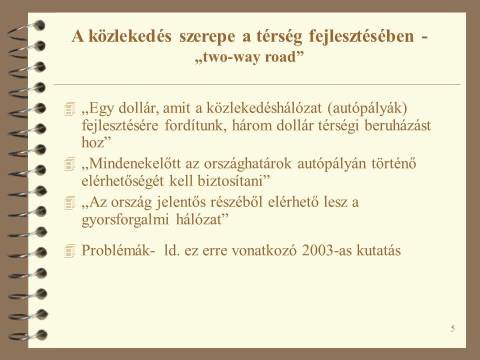 """A közlekedés szerepe a térség fejlesztésében - """"two-way road"""