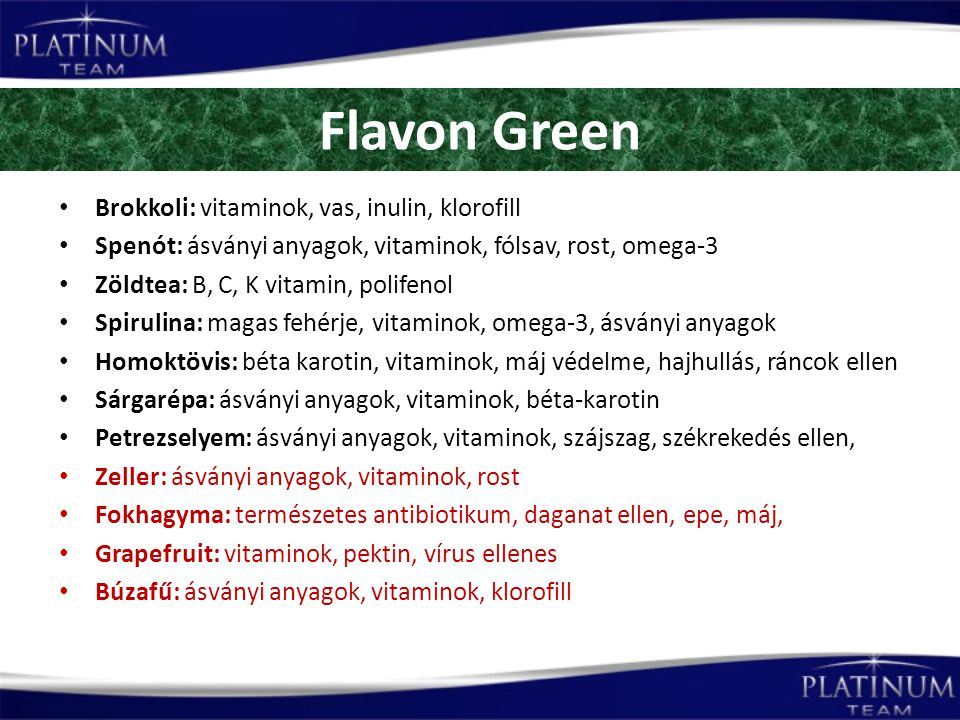 Flavon Green Brokkoli: vitaminok, vas, inulin, klorofill