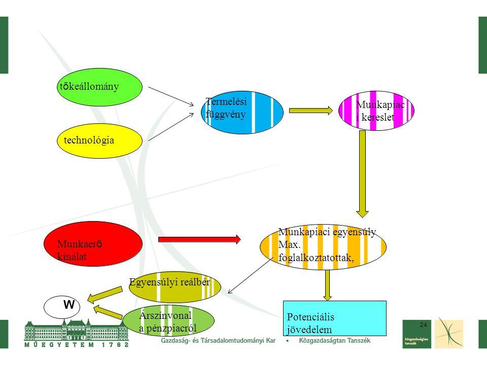 W tőkeállomány Termelési függvény Munkapiaci kereslet technológia