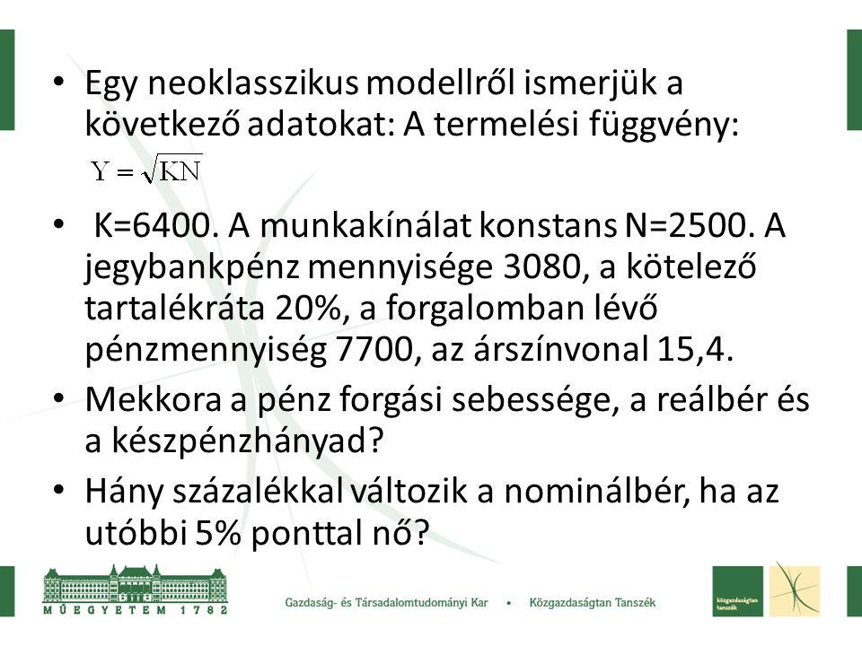 Egy neoklasszikus modellről ismerjük a következő adatokat: A termelési függvény: