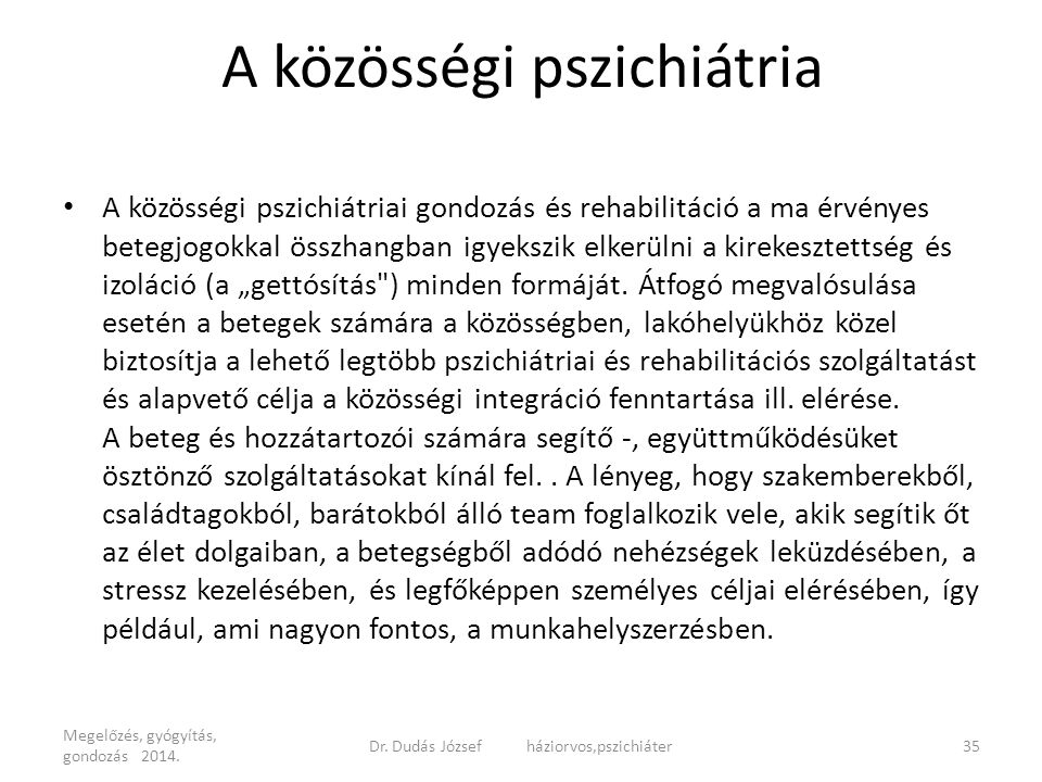 A közösségi pszichiátria