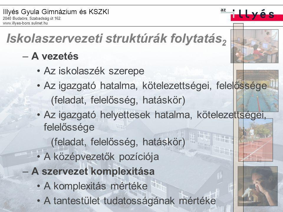 Iskolaszervezeti struktúrák folytatás2