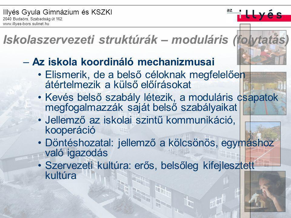 Iskolaszervezeti struktúrák – moduláris (folytatás)