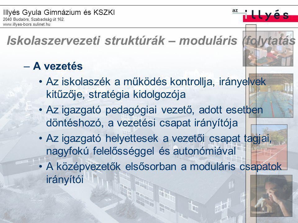Iskolaszervezeti struktúrák – moduláris (folytatás
