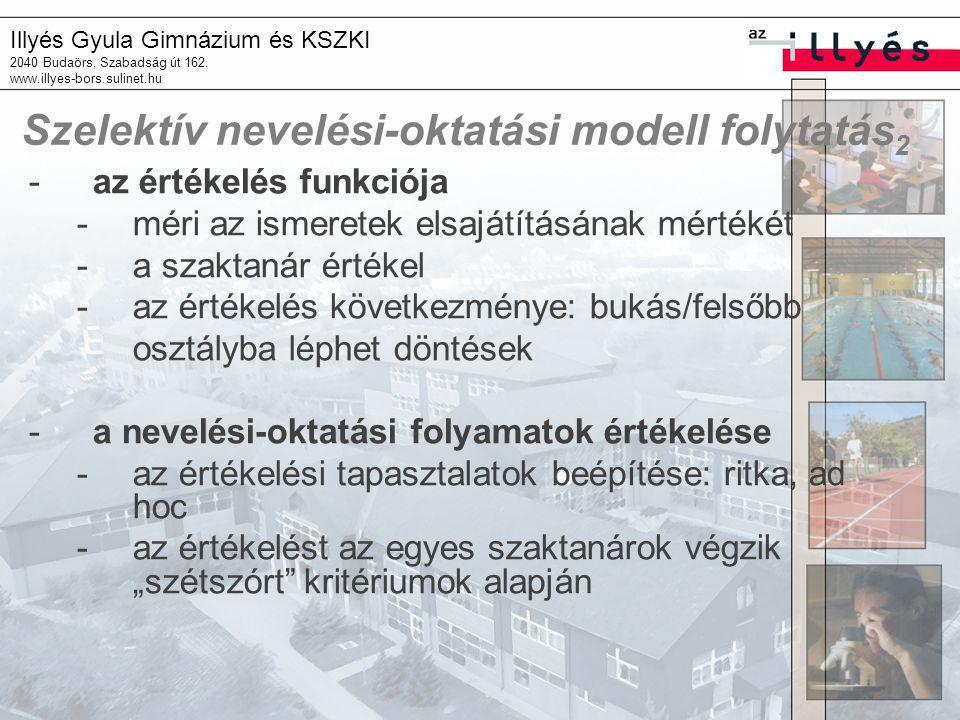 Szelektív nevelési-oktatási modell folytatás2