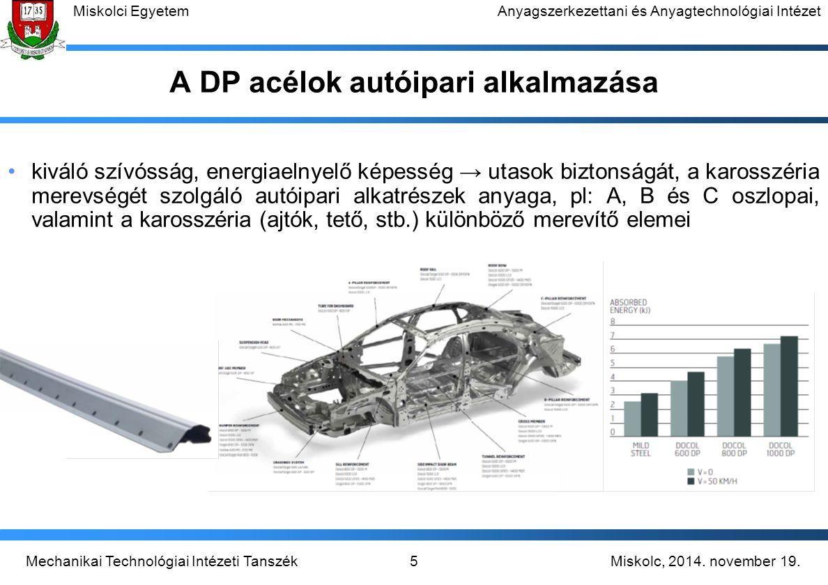 A DP acélok autóipari alkalmazása
