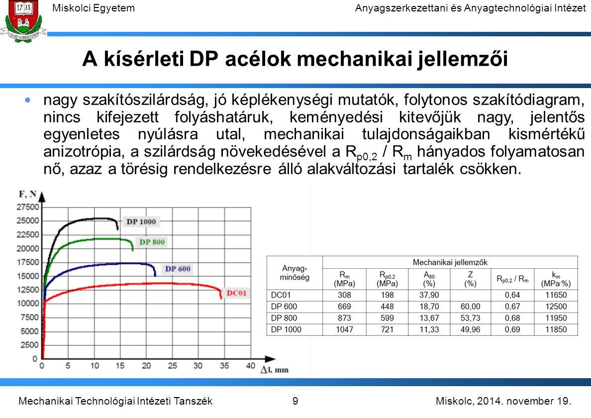 A kísérleti DP acélok mechanikai jellemzői