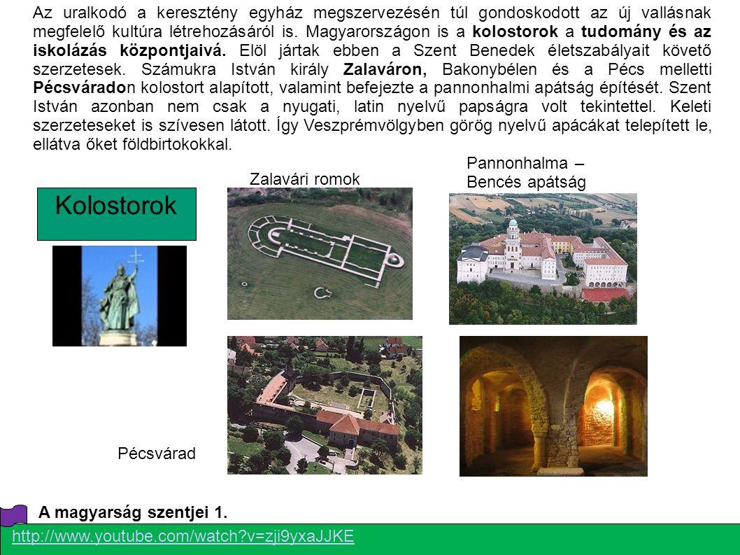 Az uralkodó a keresztény egyház megszervezésén túl gondoskodott az új vallásnak megfelelő kultúra létrehozásáról is. Magyarországon is a kolostorok a tudomány és az iskolázás központjaivá. Elöl jártak ebben a Szent Benedek életszabályait követő szerzetesek. Számukra István király Zalaváron, Bakonybélen és a Pécs melletti Pécsváradon kolostort alapított, valamint befejezte a pannonhalmi apátság építését. Szent István azonban nem csak a nyugati, latin nyelvű papságra volt tekintettel. Keleti szerzeteseket is szívesen látott. Így Veszprémvölgyben görög nyelvű apácákat telepített le, ellátva őket földbirtokokkal.