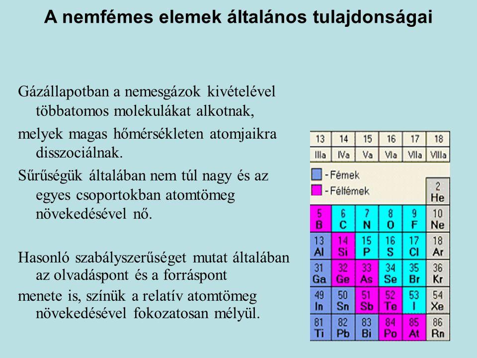 A nemfémes elemek általános tulajdonságai