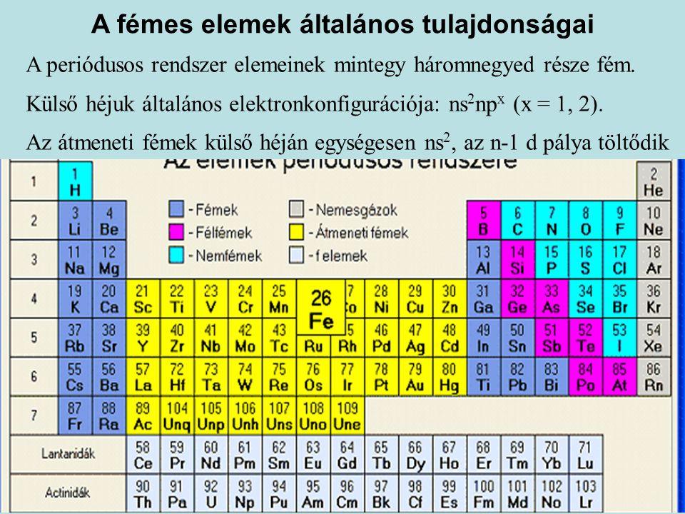 A fémes elemek általános tulajdonságai