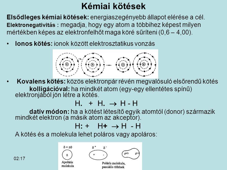 Kémiai kötések Elsődleges kémiai kötések: energiaszegényebb állapot elérése a cél.