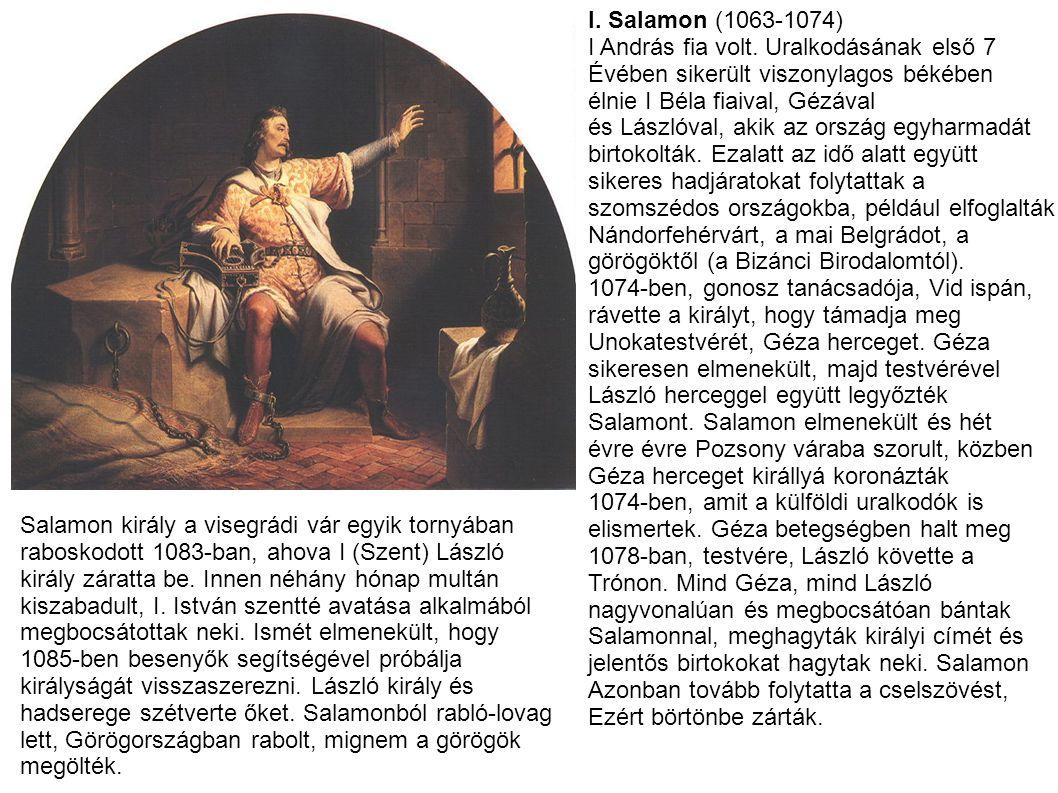 I. Salamon (1063-1074) I András fia volt. Uralkodásának első 7. Évében sikerült viszonylagos békében.
