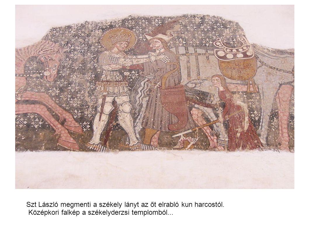 Szt László megmenti a székely lányt az őt elrabló kun harcostól.