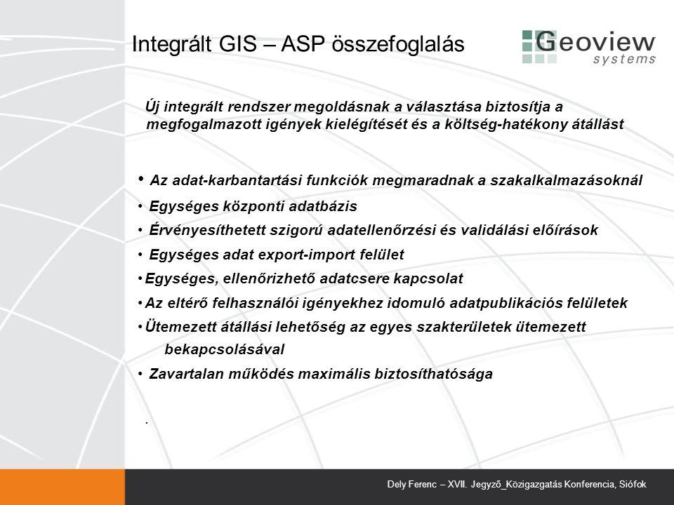 Integrált GIS – ASP összefoglalás
