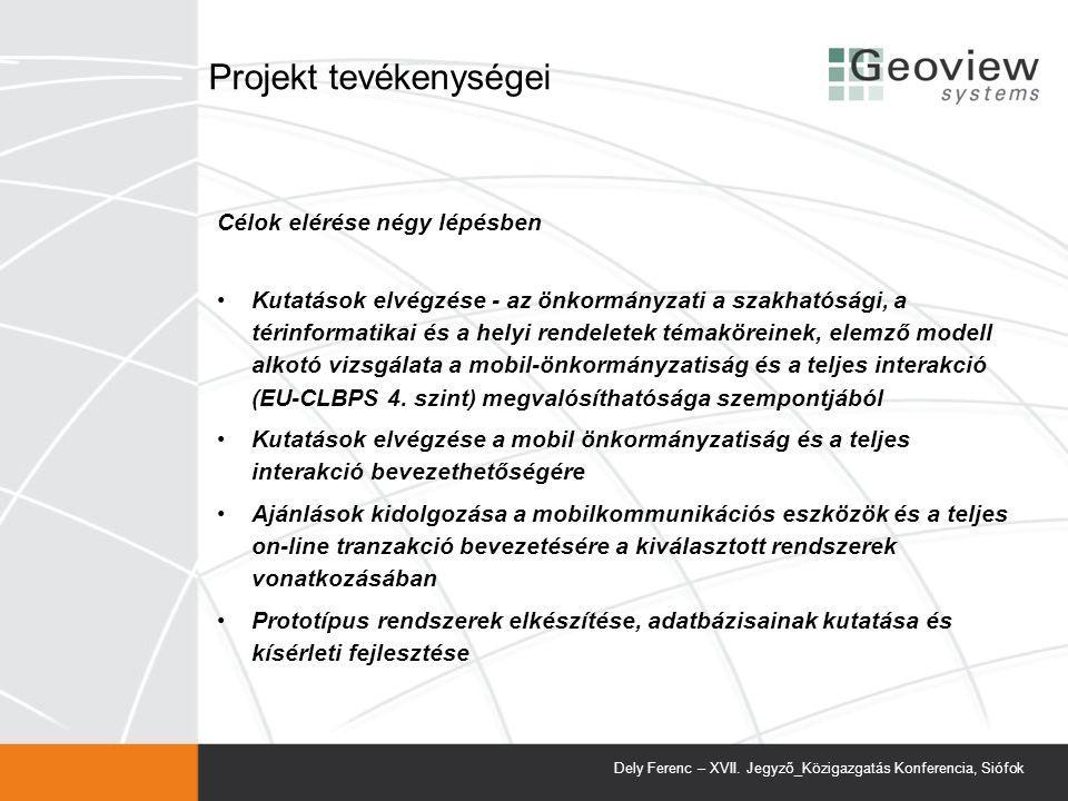 Projekt tevékenységei
