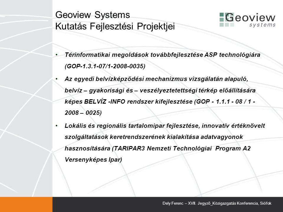 Geoview Systems Kutatás Fejlesztési Projektjei