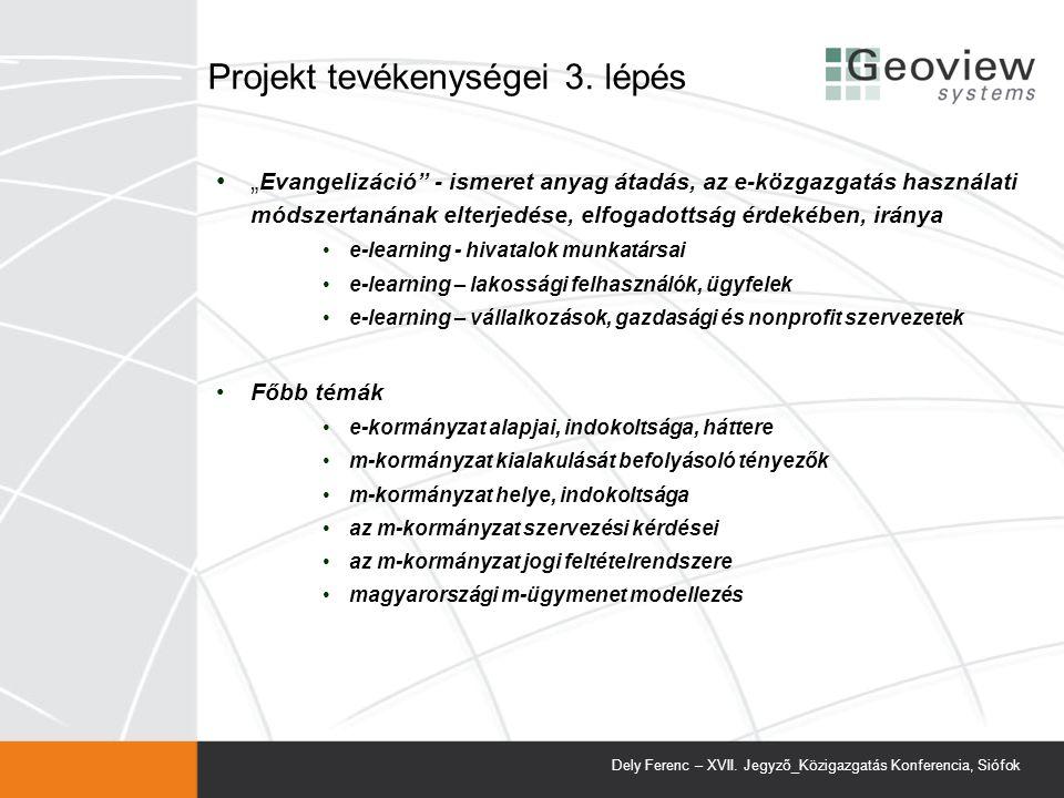 Projekt tevékenységei 3. lépés