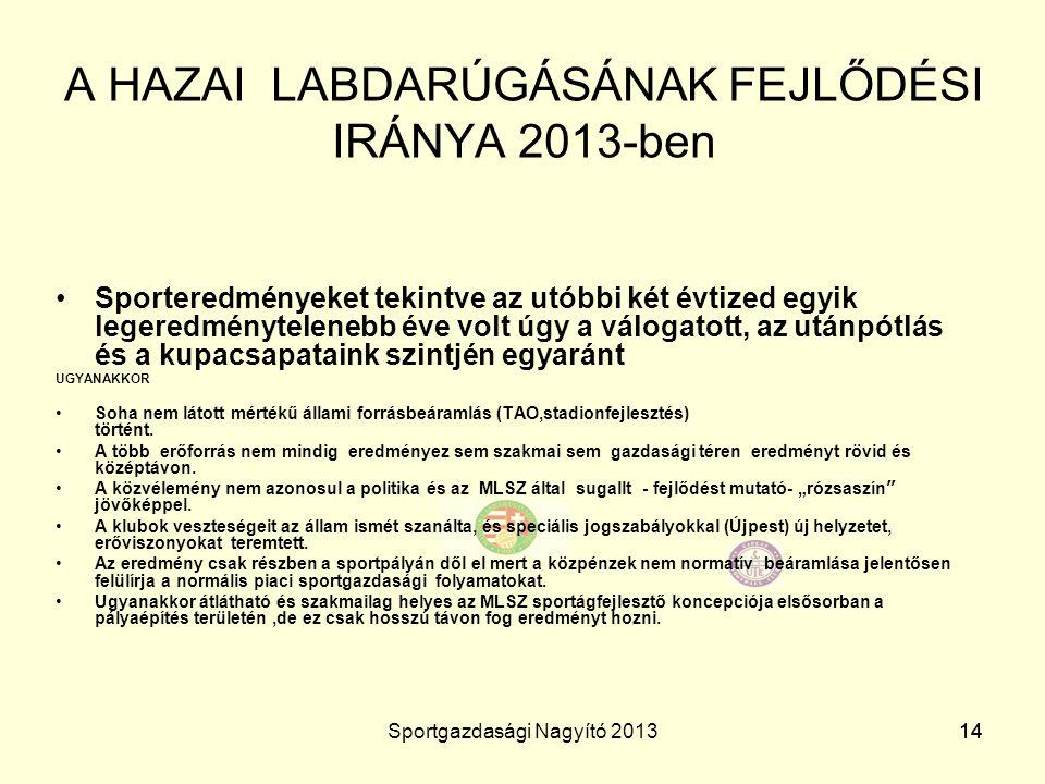 A HAZAI LABDARÚGÁSÁNAK FEJLŐDÉSI IRÁNYA 2013-ben