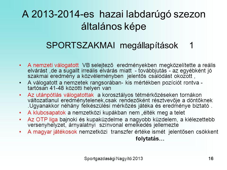 A 2013-2014-es hazai labdarúgó szezon általános képe